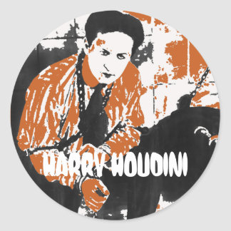 HARRY HOUDINI Black and Orange Art Illustration Sticker