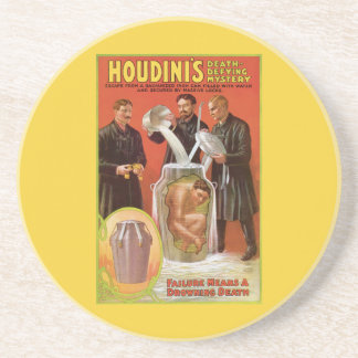 Harry Houdini, Death Defying Escape Vintage Ad Coasters