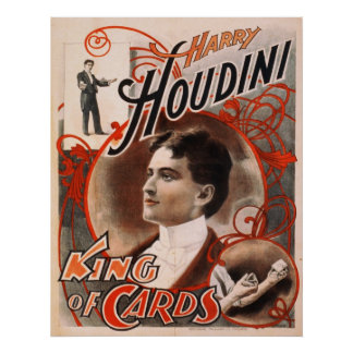 Harry Houdini King Of Cards Poster