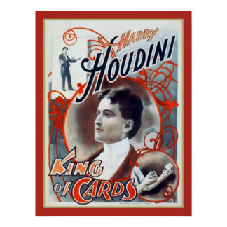 Harry Houdini King of Cards Vintage Print