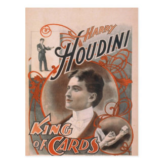 Harry Houdini, 'King of Cards' Vintage Theater Postcard