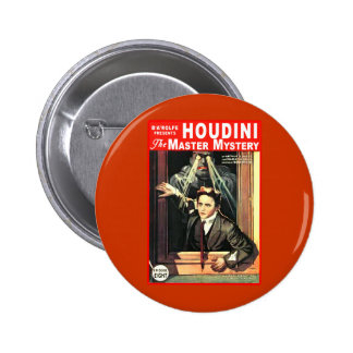 Harry Houdini Pulp Fiction Style Illustration Button