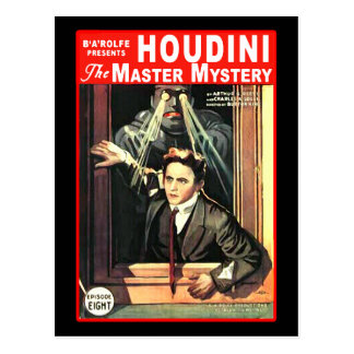Harry Houdini Pulp Fiction Style Illustration Post Card