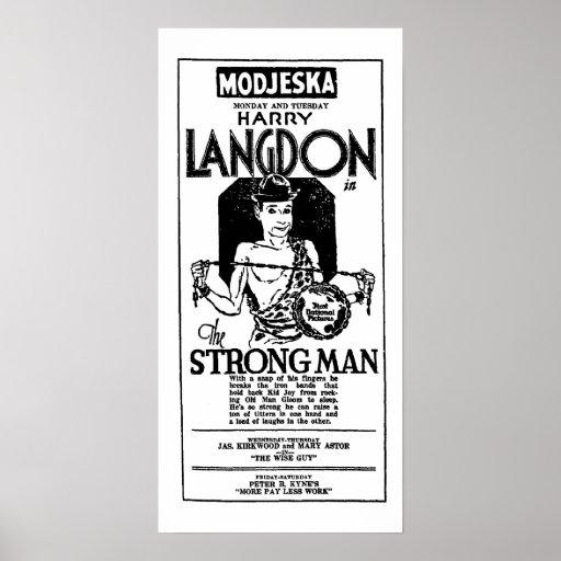 Harry Langdon 1926 vintage movie ad Print