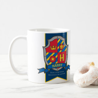 Harry letter H heraldry red blue name meaning Coffee Mug