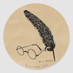 HARRY POTTER™ Glasses And Quill Round Sticker
