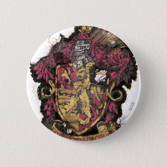 Harry Potter | Gryffindor Crest - Destroyed 6 Cm Round Badge