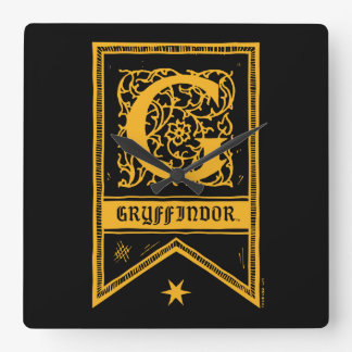 Harry Potter | Gryffindor Monogram Banner Square Wall Clock