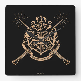 Harry Potter | Hogwarts Crossed Wands Crest Square Wall Clock