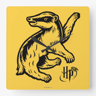 Harry Potter | Hufflepuff Badger Icon Square Wall Clock