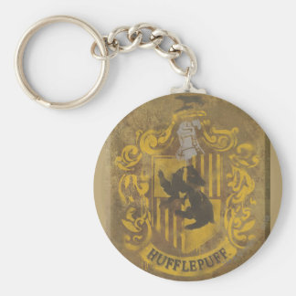 Harry Potter | Hufflepuff Crest Spray Paint Basic Round Button Key Ring
