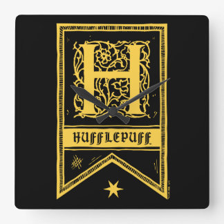 Harry Potter | Hufflepuff Monogram Banner Square Wall Clock
