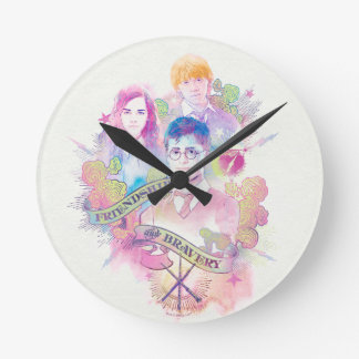 Harry Potter Spell | Harry, Hermione, & Ron Waterc Round Clock
