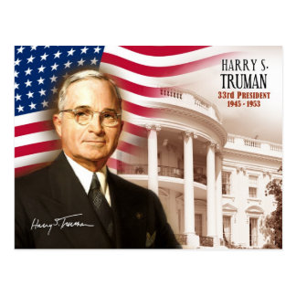 Harry S. Truman -  33rd President of the U.S. Postcard