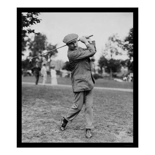 Harry Vardon, Six Time US Open Golf Champion 1914 Print