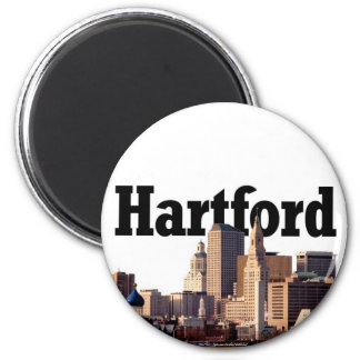 "Hartford CT Skyline with ""Hartford"" in the sky Magnet"