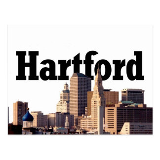 "Hartford CT Skyline with ""Hartford"" in the sky Postcard"