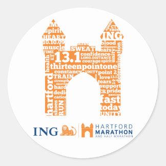 Hartford Half-Marathon: Arch Classic Round Sticker