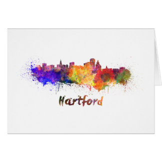 Hartford skyline in watercolor card