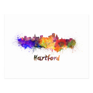 Hartford skyline in watercolor postcard