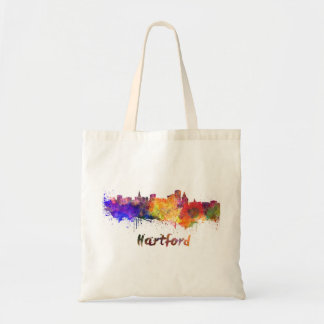 Hartford skyline in watercolor tote bag