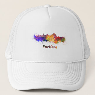 Hartford skyline in watercolor trucker hat
