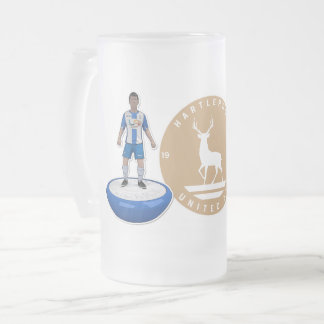 Hartlepool United 2017/18 - Gold Logo Frosted Glass Beer Mug