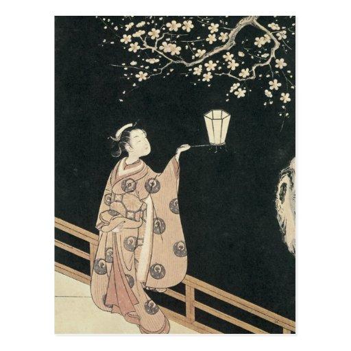 Harunobu, Plum-Blossom Viewing at Night Post Cards