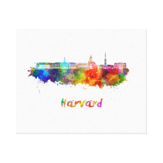 Harvard skyline in watercolor canvas print