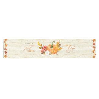 Harvest Art Thankful Grateful Blessed Family Name Short Table Runner