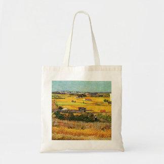 Harvest at La Crau - van Gogh Canvas Bags
