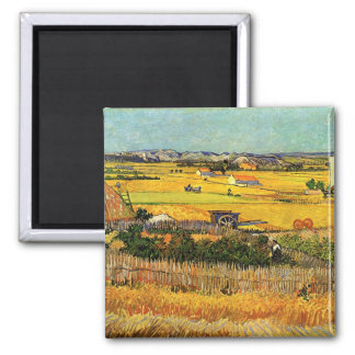 Harvest at La Crau - van Gogh Square Magnet