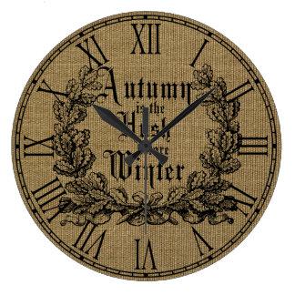 Harvest Burlap Prints Wall Clocks