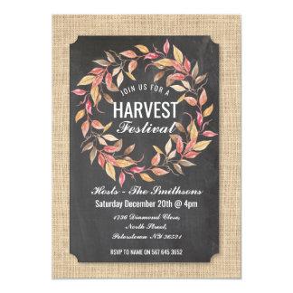Harvest Festival Fall Chalk Burlap Leaf Wreath Card