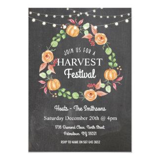 Harvest Festival Pumpkin Chalk Floral Invitation