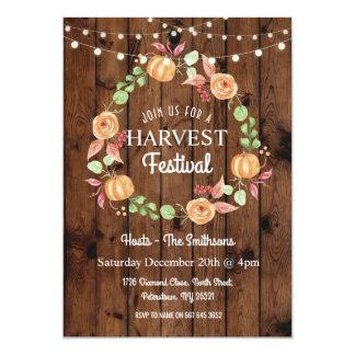 Harvest Festival Pumpkin Fall Wood Floral Invite