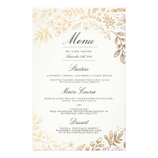 Harvest Flowers Wedding Dinner Menu