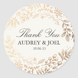 Harvest Flowers Wedding Round Sticker