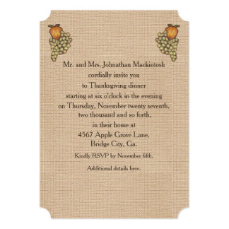 "Harvest Horseshoe Thanksgiving Downturned 5"" X 7"" Invitation Card"