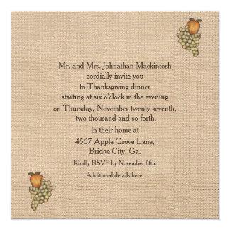 "Harvest Horseshoe Thanksgiving Upturned 5.25"" Square Invitation Card"