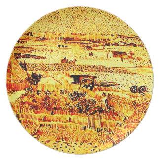 Harvest Landscape Van Gogh Fine Art Plate