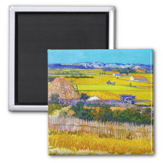 Harvest Landscape with Blue Cart Vincent Van Gogh Magnet