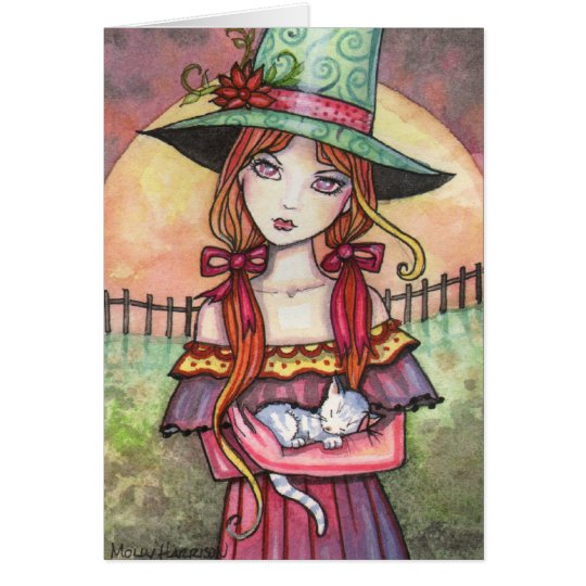 Harvest Moonrise Witch and Cat Card