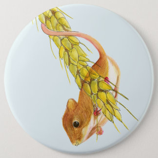Harvest Mouse on Wheat Watercolour Painting 6 Cm Round Badge