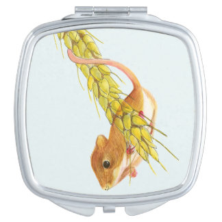Harvest Mouse on Wheat Watercolour Painting Makeup Mirror