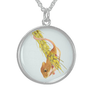 Harvest Mouse on Wheat Watercolour Painting Sterling Silver Necklace