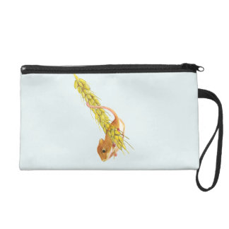 Harvest Mouse on Wheat Watercolour Painting Wristlet Clutch