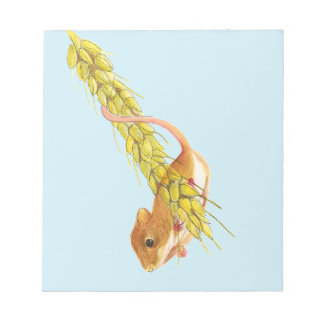 Harvest Mouse Watercolour Painting Artwork Gifts Notepad
