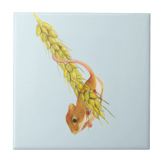 Harvest Mouse Watercolour Painting Artwork Gifts Small Square Tile