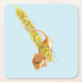 Harvest Mouse Watercolour Painting Artwork Gifts Square Paper Coaster